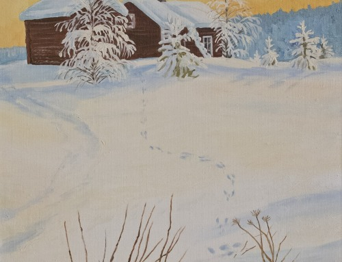 Jäljet lumessa (öljy) 50 x 40