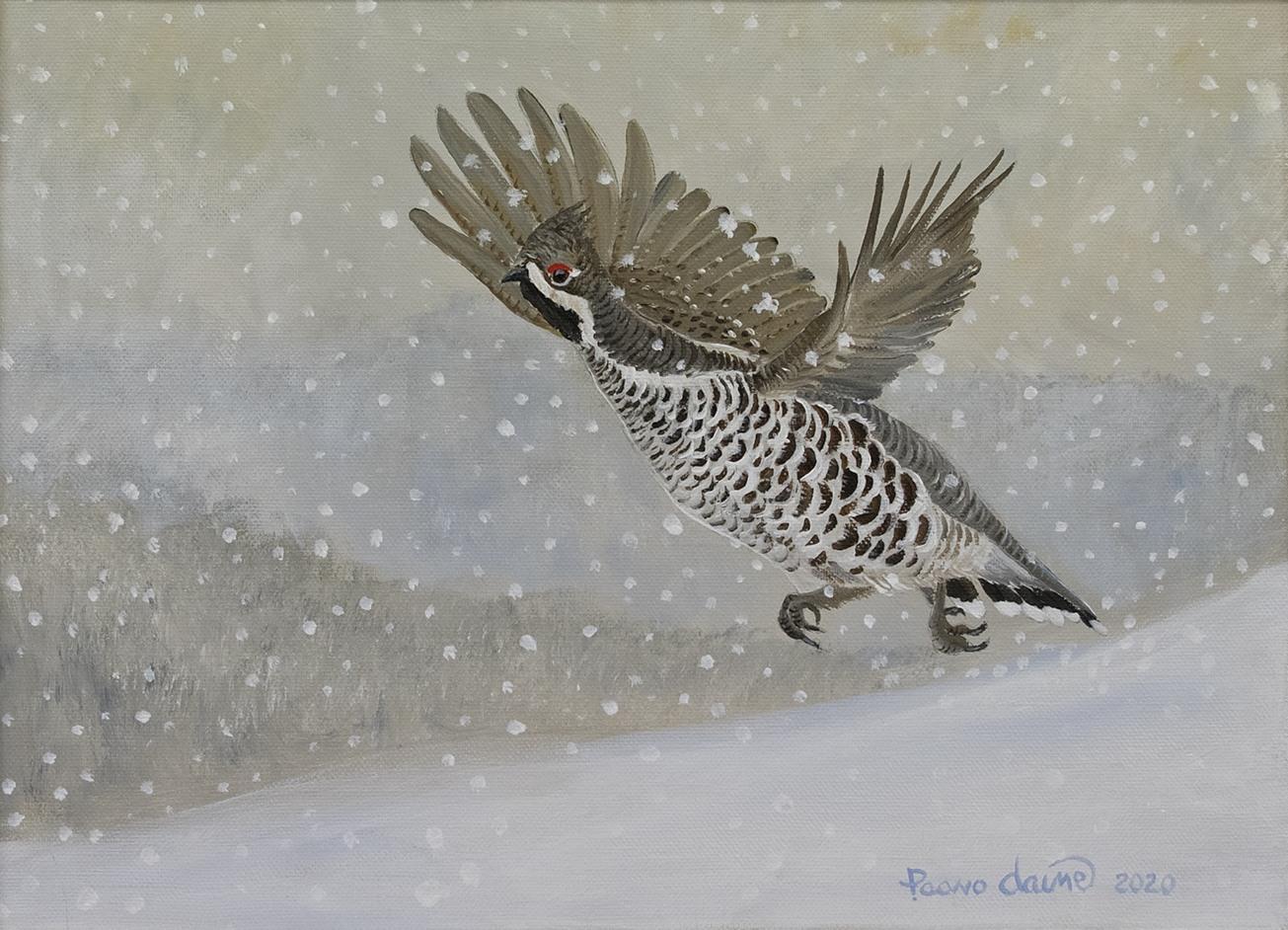 Lumisateen yllättämä (akryyli) 34 x 48